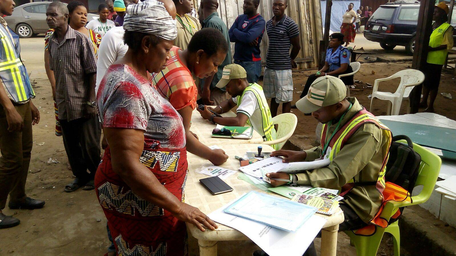 Voters during accreditation