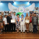 Chairman Man Hee Lee and his HWPL partners celebrate Davao City Public Library designating Peace Hall