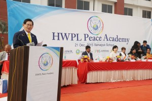Mr. Man Hee Lee, Chairman of HWPL, is speaking on the role of youth to realize peace and HWPL's peace initiatives