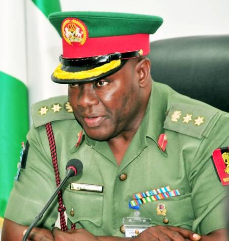 PIC. 26. NEWS DIRECTOR, DEFENCE INFORMATION, COL. RABI ABUBAKAR, SPEAKING TO NEWSMEN AFTER ASSUMPTION OF OFFICE IN ABUJA ON MONDAY (3/8/15).5736/3/8/2015/JAU/BJO/NAN