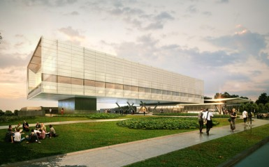 An artists rendering of the future Innovation Partnership Building to be located at the UConn Technology Park.
