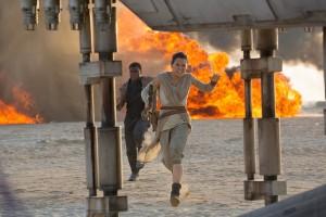 "John Boyega and Daisy Ridley in ""Star Wars: The Force Awakens,"""