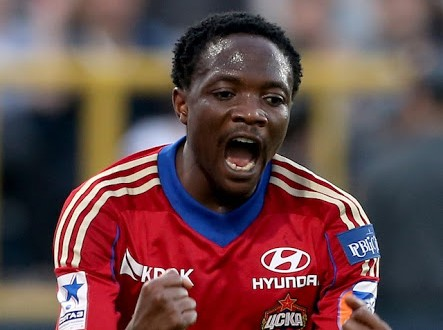 TOMSK, RUSSIA - AUGUST 24: Ahmed Musa (R) of  PFC CSKA Moscow celebrates after scoring a goal during the Russian Premier League match between FC Tom Tomsk and PFC CSKA Moscow at Trud Stadium on August 24, 2013 in Tomsk, Russia.  (Photo by Epsilon/Getty Images)