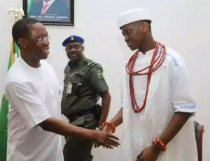 The Governor of Delta State with the New Obi of Ubulu-Uku