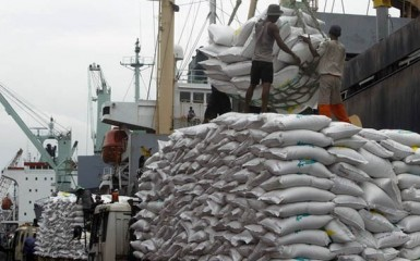 Workers unload 42,494 tonnes of Thai rice at the Tanjung Priok harbour in Jakarta January 25, 2011. Indonesia's state procurement agency Bulog is looking for at least 170,000 tonnes of Thai rice for delivery from January to March, a trader said early this month. The government has allowed Bulog to import rice this year to shore up falling stocks. REUTERS/Crack Palinggi (INDONESIA - Tags: BUSINESS FOOD)