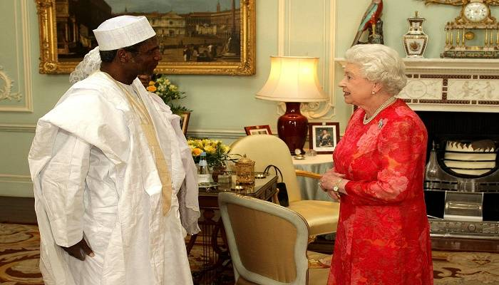 Britain's Queen Elizabeth II receives the President of Nigeria, Umaru Yar'Adua, at Buckingham Palace, London.