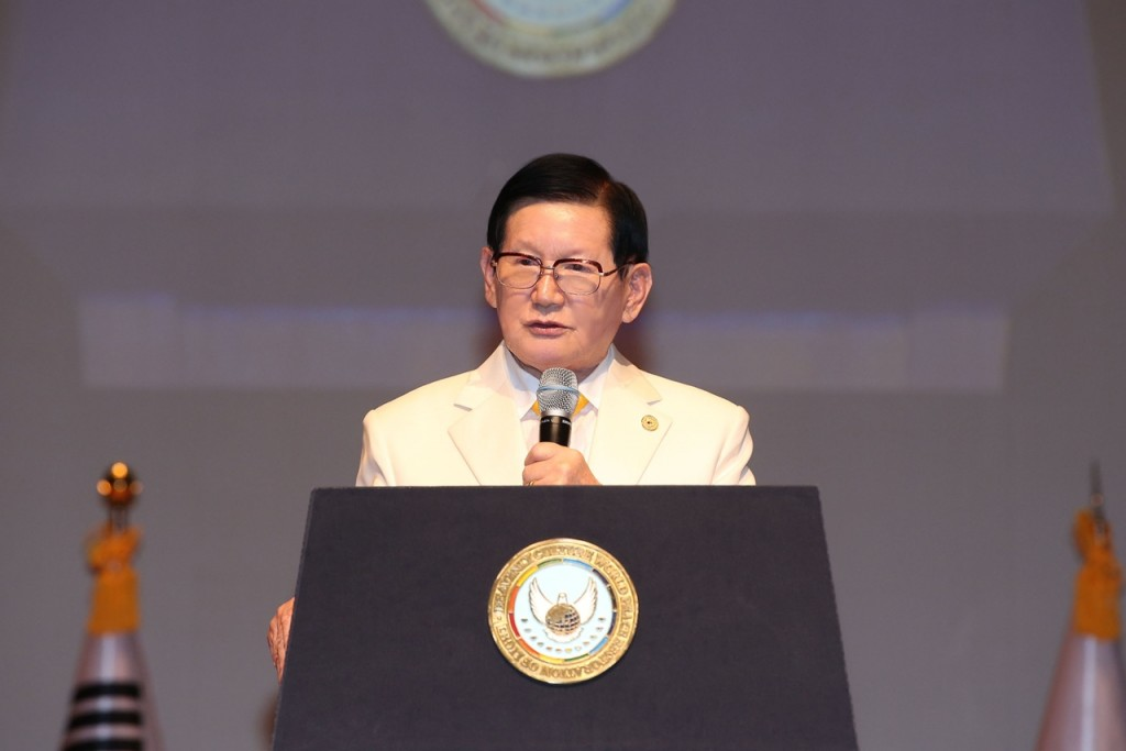 Chairman Lee of HWPL is proclaiming theDeclaration of Peace and Cessation of War
